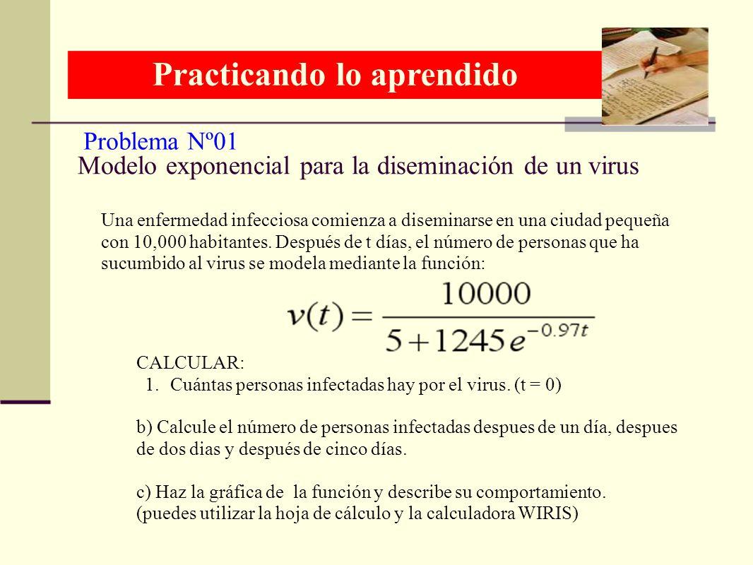 Modelo exponencial para la diseminación de un virus Una enfermedad infecciosa comienza a diseminarse en una ciudad pequeña con 10,000 habitantes. Desp