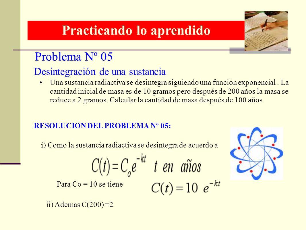 Problema Nº 05 Practicando lo aprendido RESOLUCION DEL PROBLEMA Nº 05: Desintegración de una sustancia Una sustancia radiactiva se desintegra siguiend