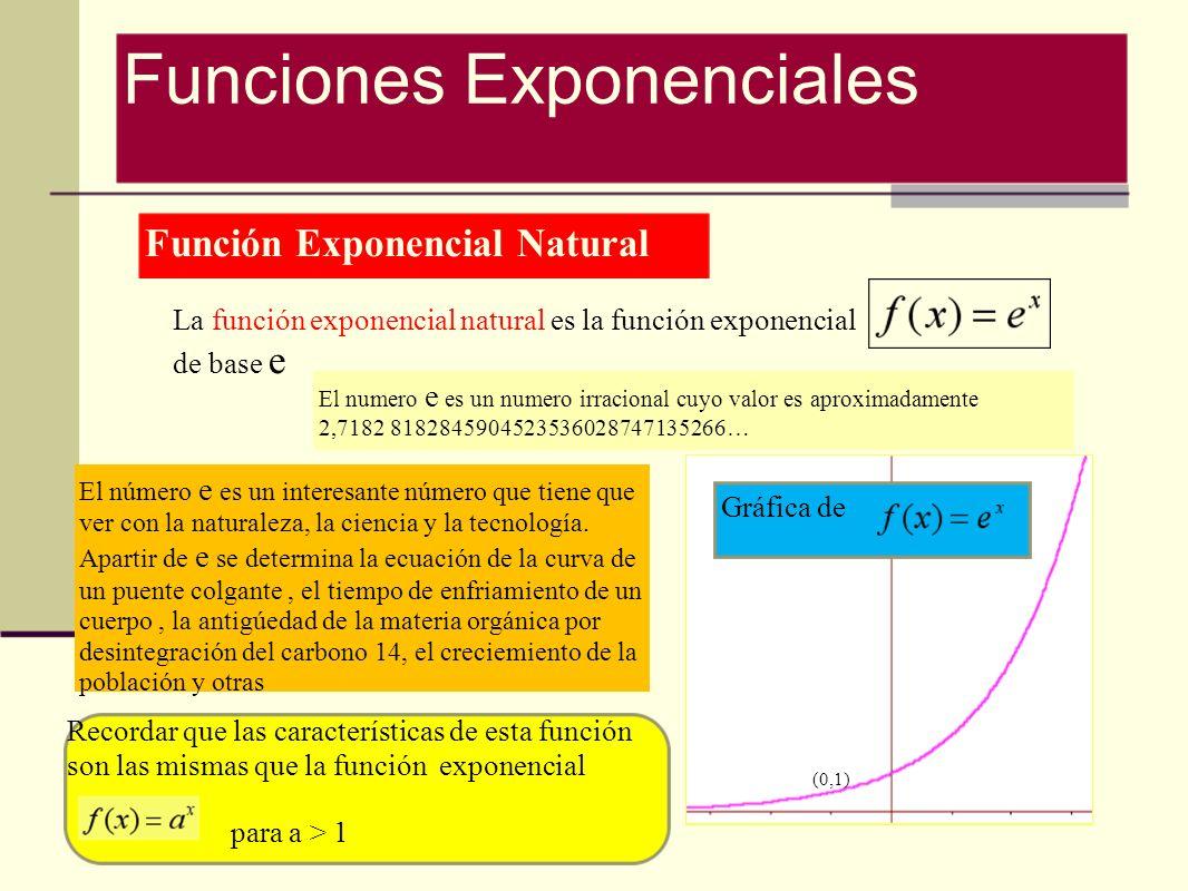 Función Exponencial Natural La función exponencial natural es la función exponencial de base e El número e es un interesante número que tiene que ver