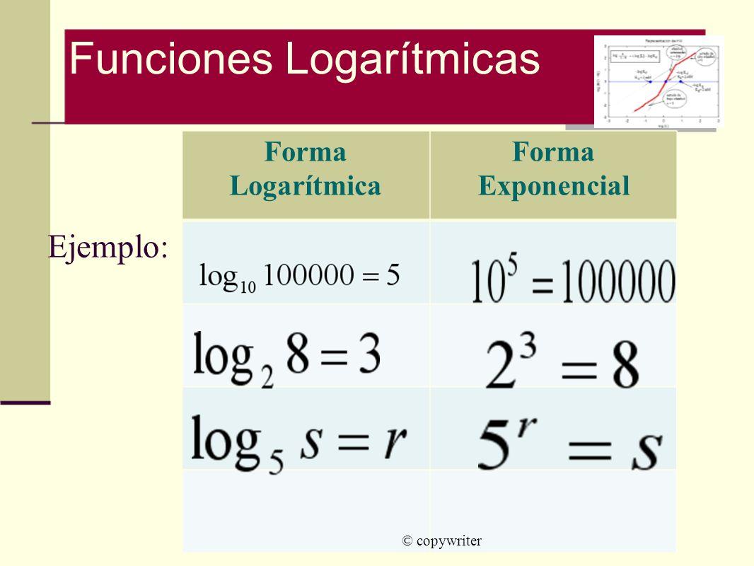 © copywriter Forma Logarítmica Forma Exponencial Funciones Logarítmicas Ejemplo: