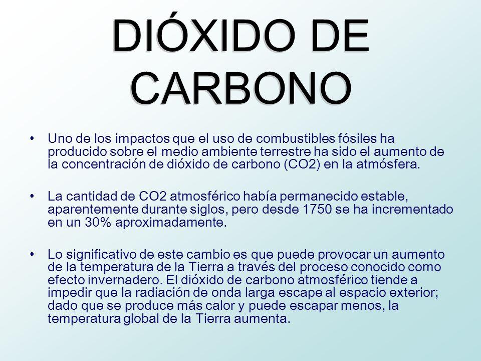 Uno de los impactos que el uso de combustibles fósiles ha producido sobre el medio ambiente terrestre ha sido el aumento de la concentración de dióxid