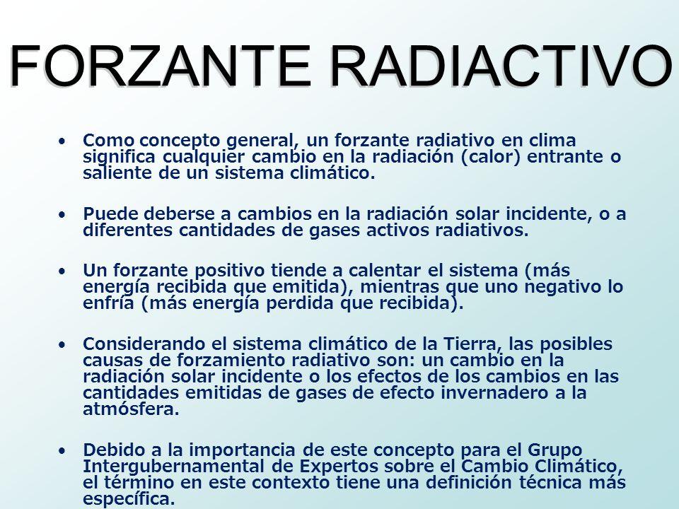 Como concepto general, un forzante radiativo en clima significa cualquier cambio en la radiación (calor) entrante o saliente de un sistema climático.