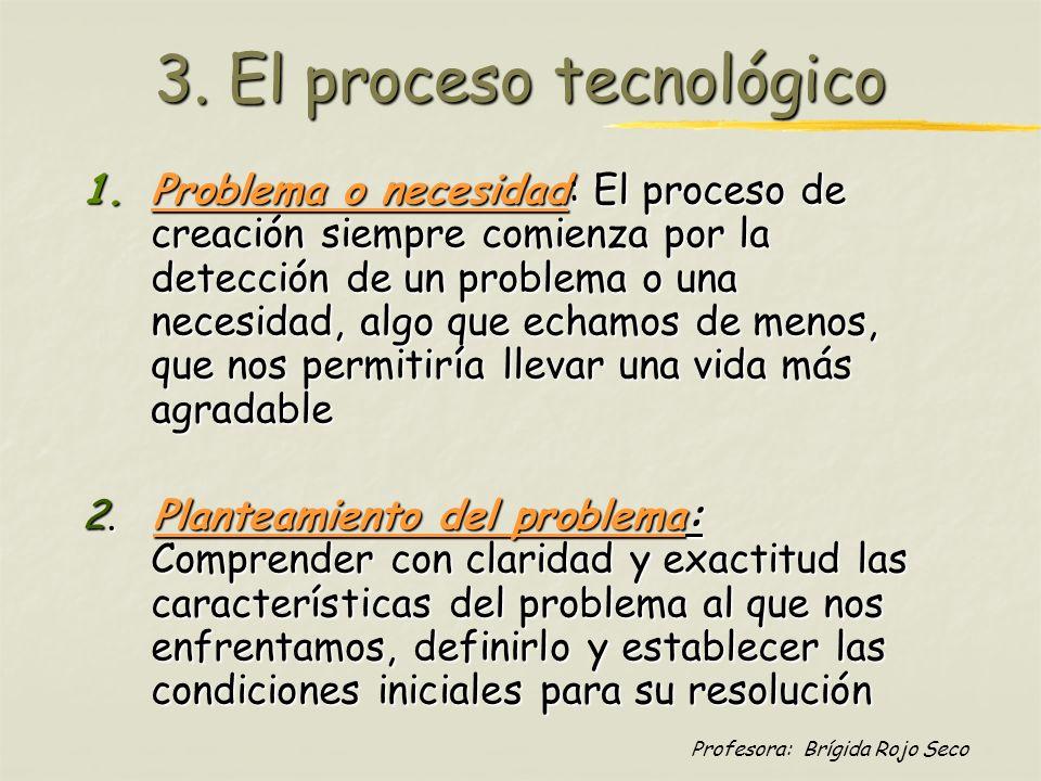 Profesora: Brígida Rojo Seco 3. El proceso tecnológico 1.Problema o necesidad: El proceso de creación siempre comienza por la detección de un problema