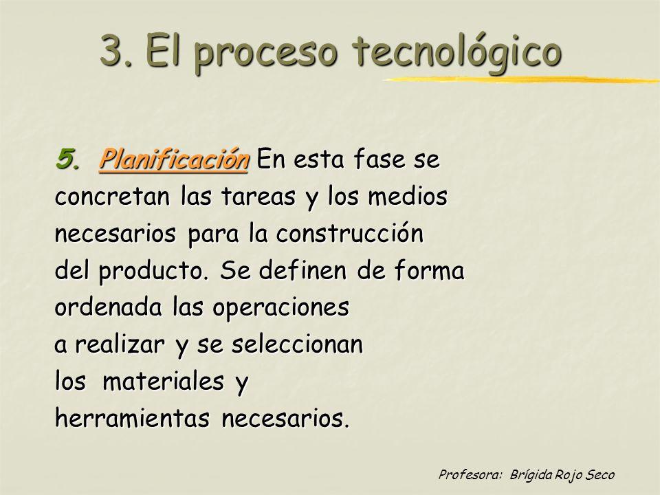Profesora: Brígida Rojo Seco 3. El proceso tecnológico 5.Planificación En esta fase se concretan las tareas y los medios necesarios para la construcci