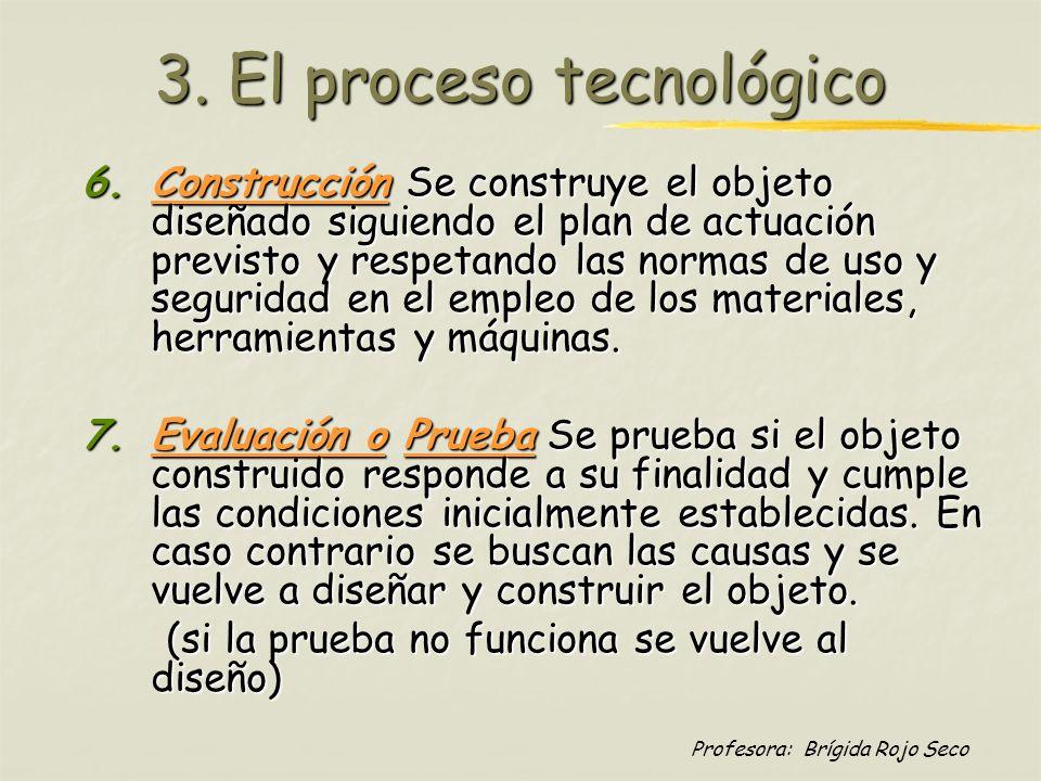 Profesora: Brígida Rojo Seco 3. El proceso tecnológico 6.Construcción Se construye el objeto diseñado siguiendo el plan de actuación previsto y respet