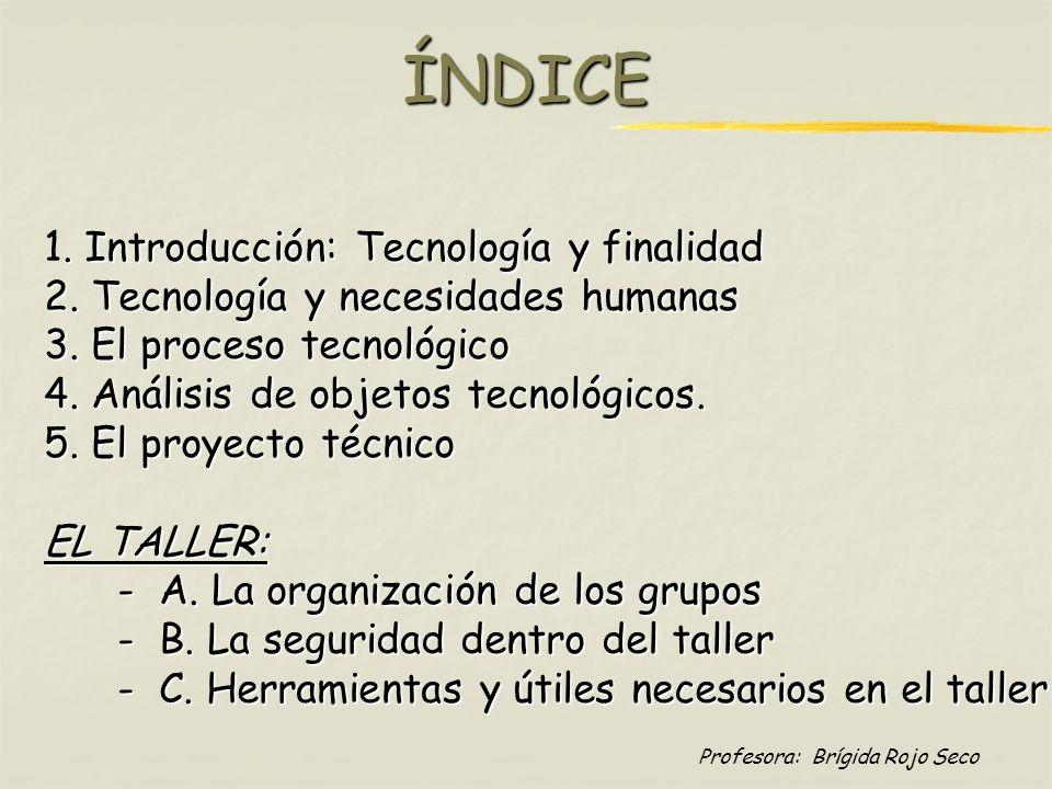 Profesora: Brígida Rojo SecoÍNDICE. Introducción: Tecnología y finalidad 1. Introducción: Tecnología y finalidad 2. Tecnología y necesidades humanas 3