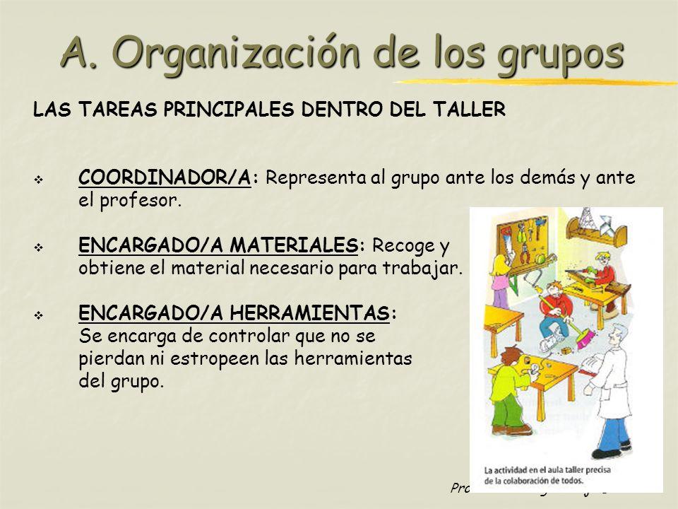 Profesora: Brígida Rojo Seco A. Organización de los grupos LAS TAREAS PRINCIPALES DENTRO DEL TALLER COORDINADOR/A: Representa al grupo ante los demás