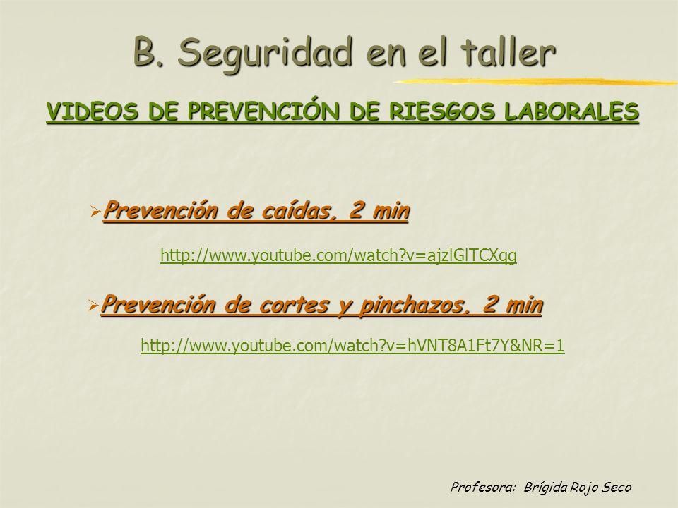 Profesora: Brígida Rojo Seco B. Seguridad en el taller Prevención de caídas, 2 min http://www.youtube.com/watch?v=ajzlGlTCXqg http://www.youtube.com/w
