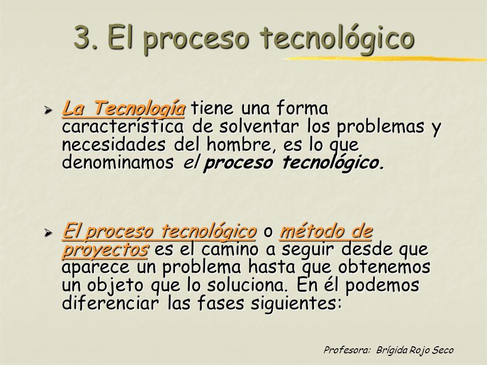 Profesora: Brígida Rojo Seco 3. El proceso tecnológico La Tecnología tiene una forma característica de solventar los problemas y necesidades del hombr