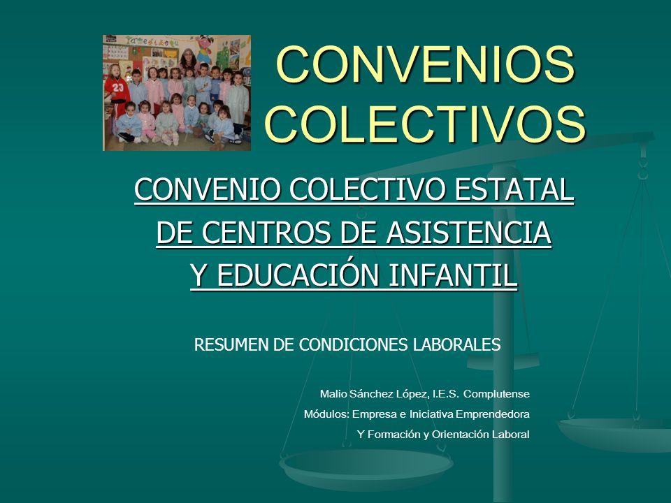 CONVENIOS COLECTIVOS CONVENIO COLECTIVO ESTATAL DE CENTROS DE ASISTENCIA Y EDUCACIÓN INFANTIL RESUMEN DE CONDICIONES LABORALES Malio Sánchez López, I.
