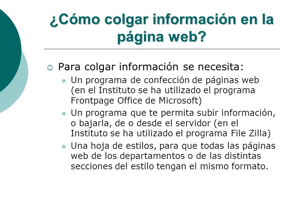 ¿Cómo colgar información en la página web? Para colgar información se necesita: Un programa de confección de páginas web (en el Instituto se ha utiliz