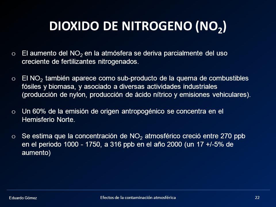 Eduardo Gómez DIOXIDO DE NITROGENO (NO 2 ) Efectos de la contaminación atmosférica22 o El aumento del NO 2 en la atmósfera se deriva parcialmente del