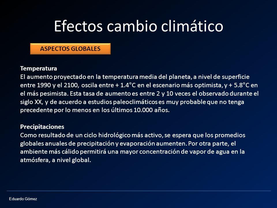 Eduardo Gómez Efectos cambio climático Temperatura El aumento proyectado en la temperatura media del planeta, a nivel de superficie entre 1990 y el 21