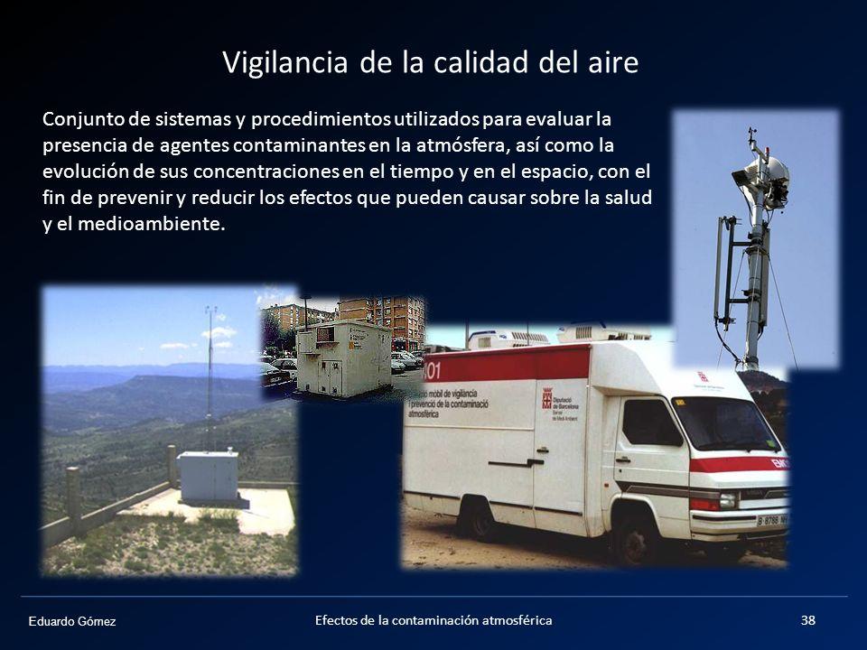 Eduardo Gómez Vigilancia de la calidad del aire Efectos de la contaminación atmosférica38 Conjunto de sistemas y procedimientos utilizados para evalua