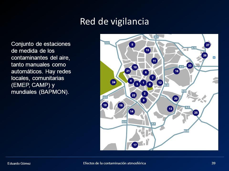 Eduardo Gómez Red de vigilancia Efectos de la contaminación atmosférica39 Conjunto de estaciones de medida de los contaminantes del aire, tanto manual
