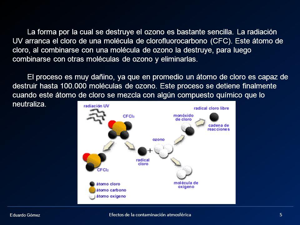 Eduardo Gómez La forma por la cual se destruye el ozono es bastante sencilla. La radiación UV arranca el cloro de una molécula de clorofluorocarbono (