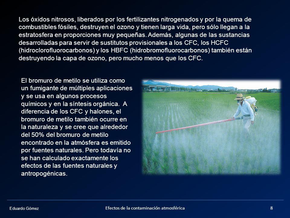 Eduardo Gómez Efectos de la contaminación atmosférica8 Los óxidos nitrosos, liberados por los fertilizantes nitrogenados y por la quema de combustible