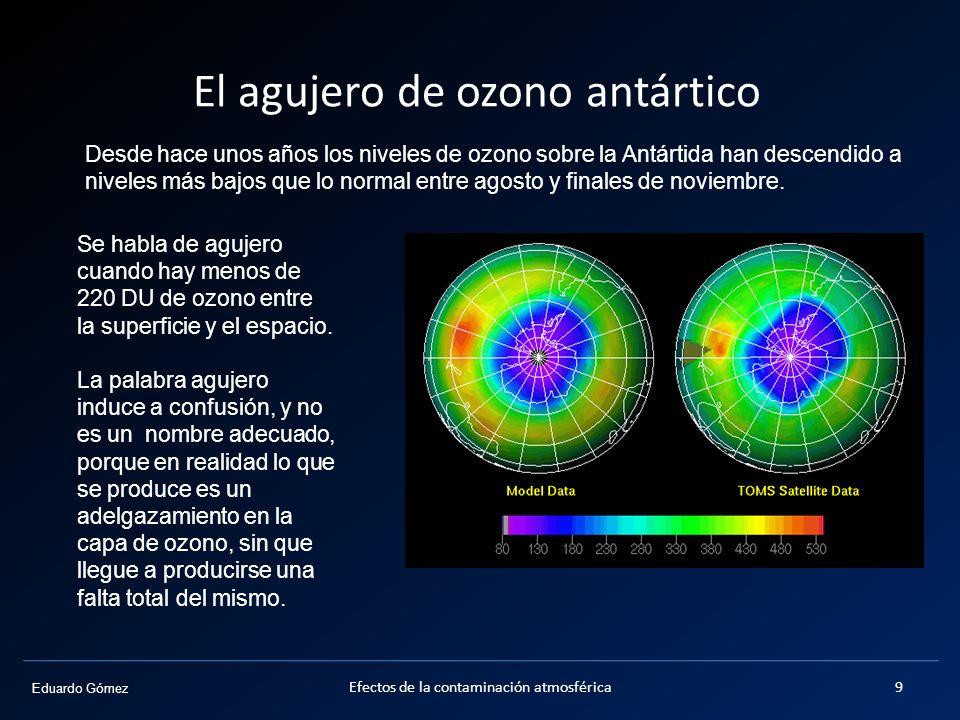 Eduardo Gómez El agujero de ozono antártico Desde hace unos años los niveles de ozono sobre la Antártida han descendido a niveles más bajos que lo nor