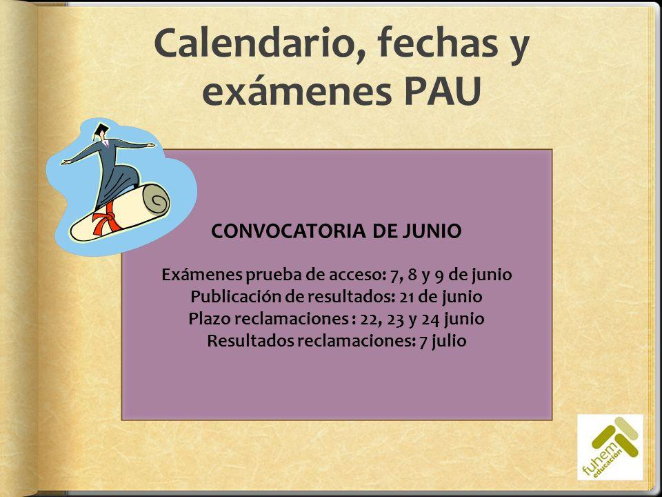 Calendario, fechas y exámenes PAU CONVOCATORIA DE JUNIO Exámenes prueba de acceso: 7, 8 y 9 de junio Publicación de resultados: 21 de junio Plazo recl