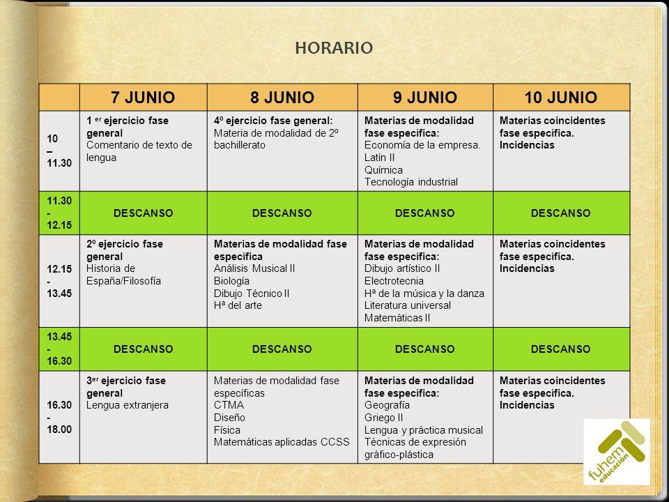HORARIO 7 JUNIO8 JUNIO9 JUNIO10 JUNIO 10 – 11.30 1 er ejercicio fase general Comentario de texto de lengua 4º ejercicio fase general: Materia de modal