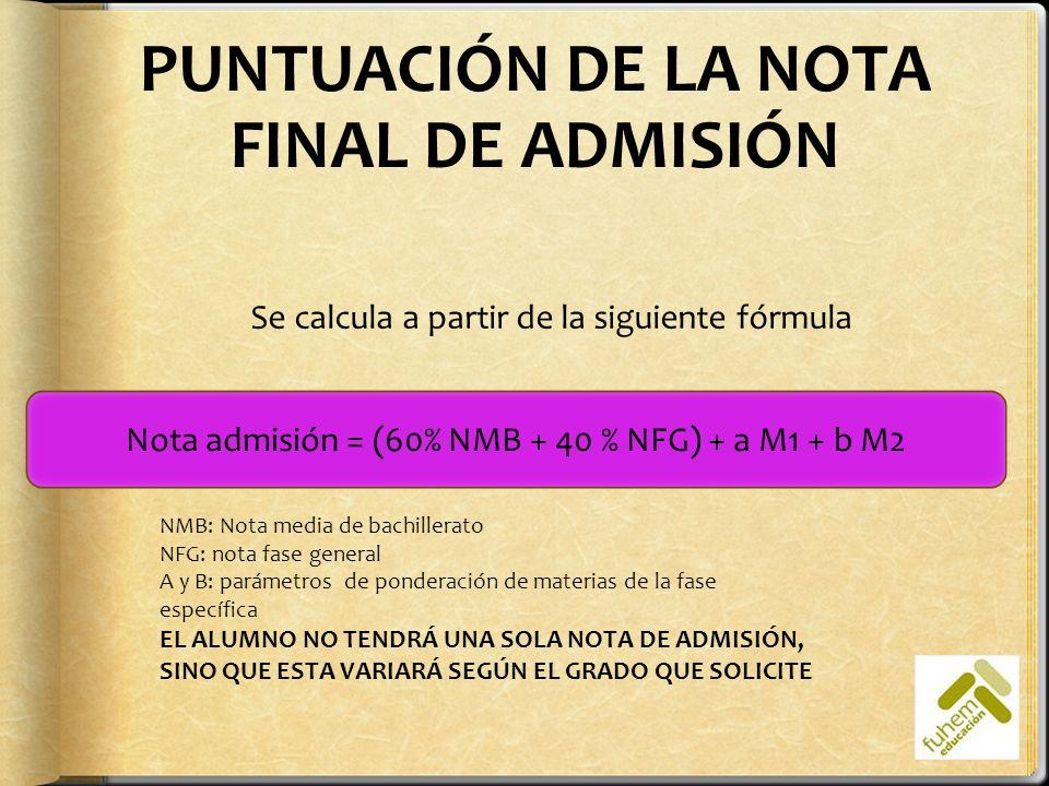 PUNTUACIÓN DE LA NOTA FINAL DE ADMISIÓN Nota admisión = (60% NMB + 40 % NFG) + a M1 + b M2 Se calcula a partir de la siguiente fórmula NMB: Nota media