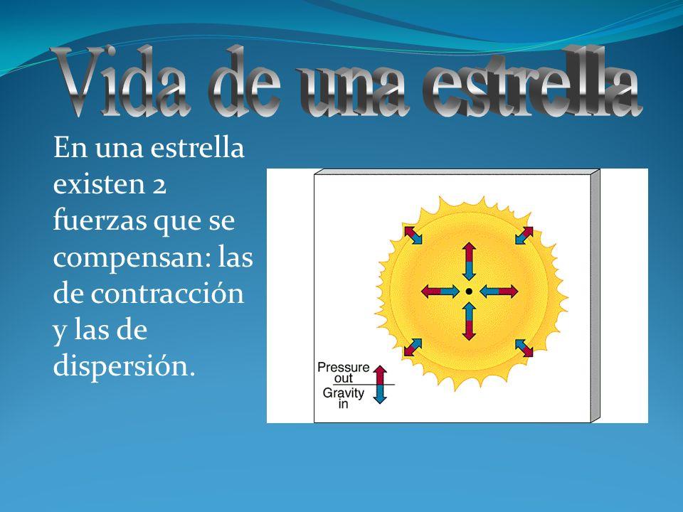 En una estrella existen 2 fuerzas que se compensan: las de contracción y las de dispersión.