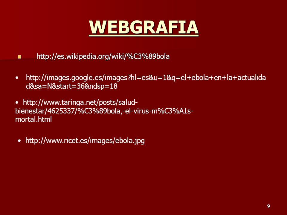 9 WEBGRAFIA http://es.wikipedia.org/wiki/%C3%89bola http://es.wikipedia.org/wiki/%C3%89bola http://images.google.es/images?hl=es&u=1&q=el+ebola+en+la+