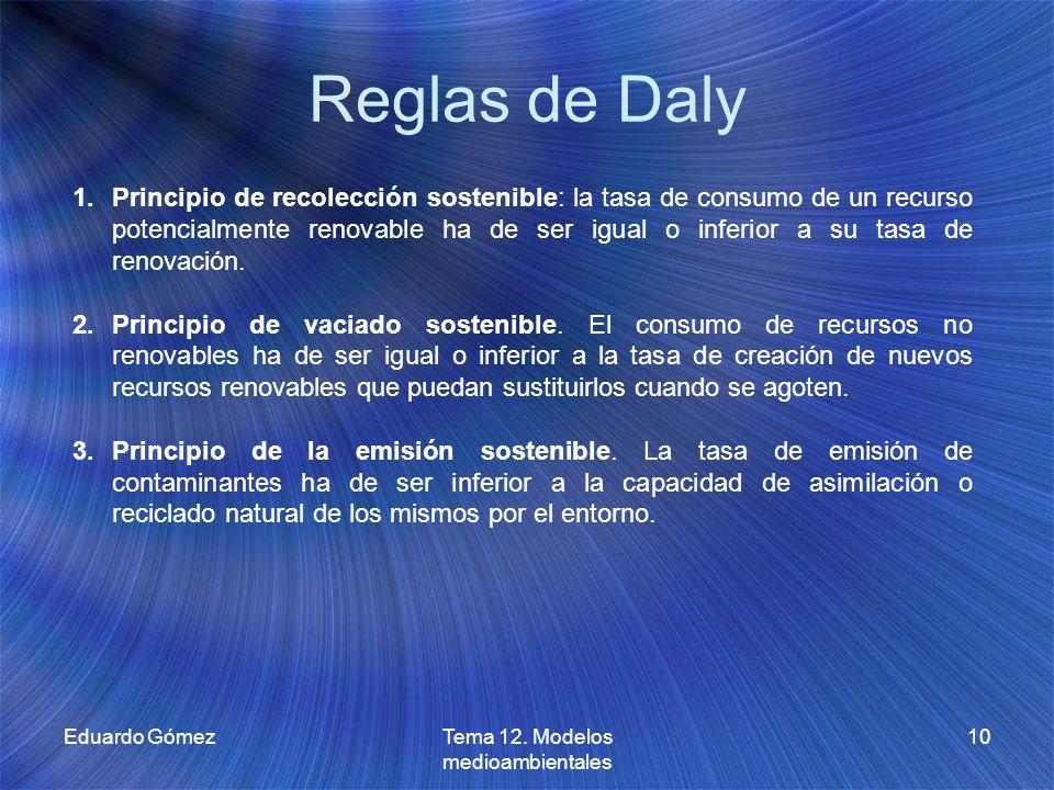 Reglas de Daly Eduardo GómezTema 12. Modelos medioambientales 10 1.Principio de recolección sostenible: la tasa de consumo de un recurso potencialment