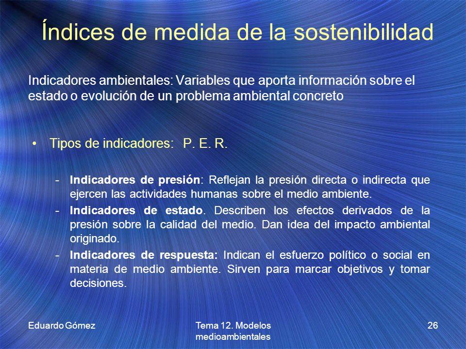 Índices de medida de la sostenibilidad Tipos de indicadores: P. E. R. -Indicadores de presión: Reflejan la presión directa o indirecta que ejercen las