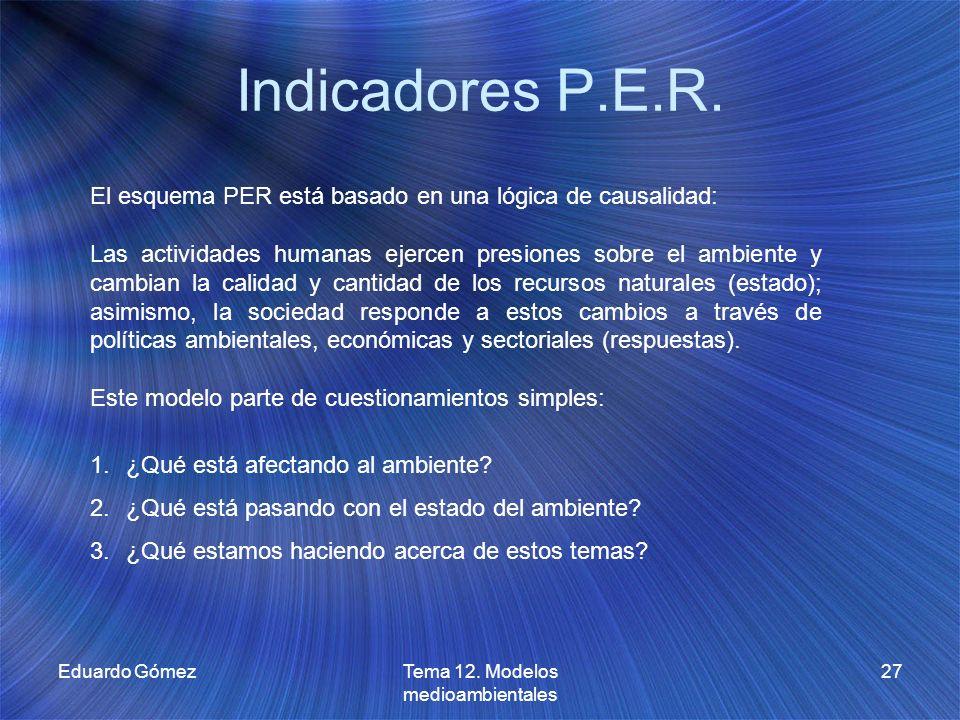 Indicadores P.E.R. Eduardo GómezTema 12. Modelos medioambientales 27 El esquema PER está basado en una lógica de causalidad: Las actividades humanas e