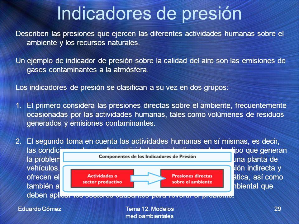 Indicadores de presión Eduardo GómezTema 12. Modelos medioambientales 29 Describen las presiones que ejercen las diferentes actividades humanas sobre