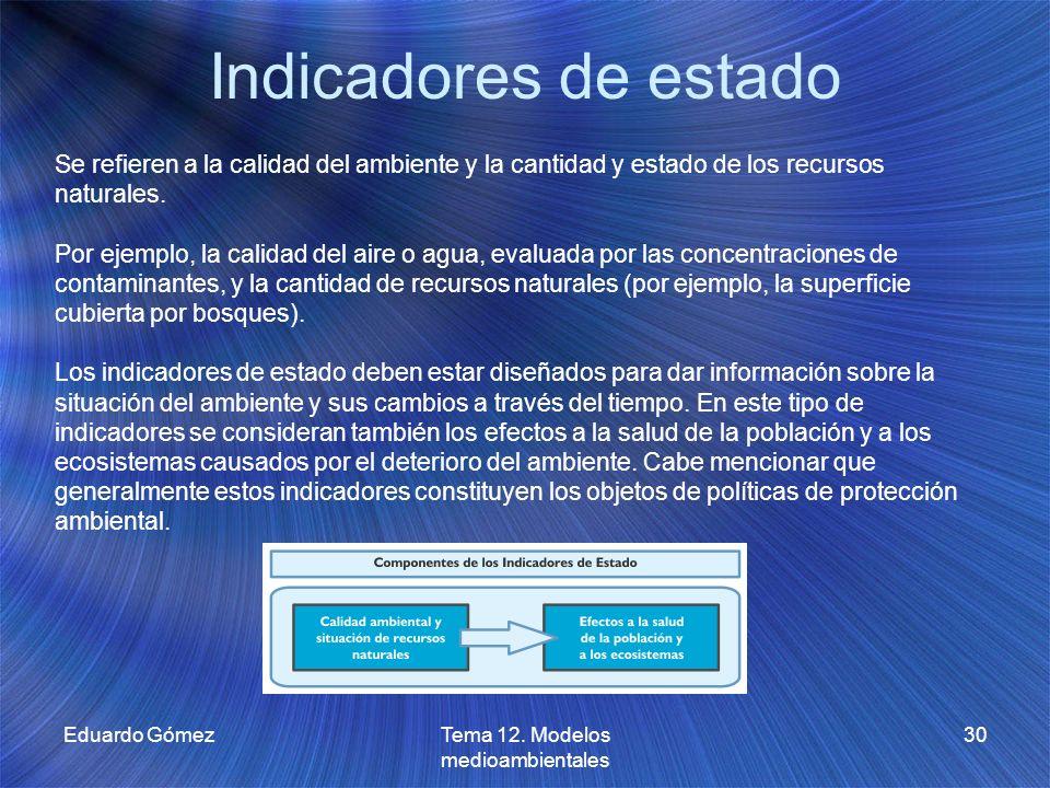 Indicadores de estado Eduardo GómezTema 12. Modelos medioambientales 30 Se refieren a la calidad del ambiente y la cantidad y estado de los recursos n