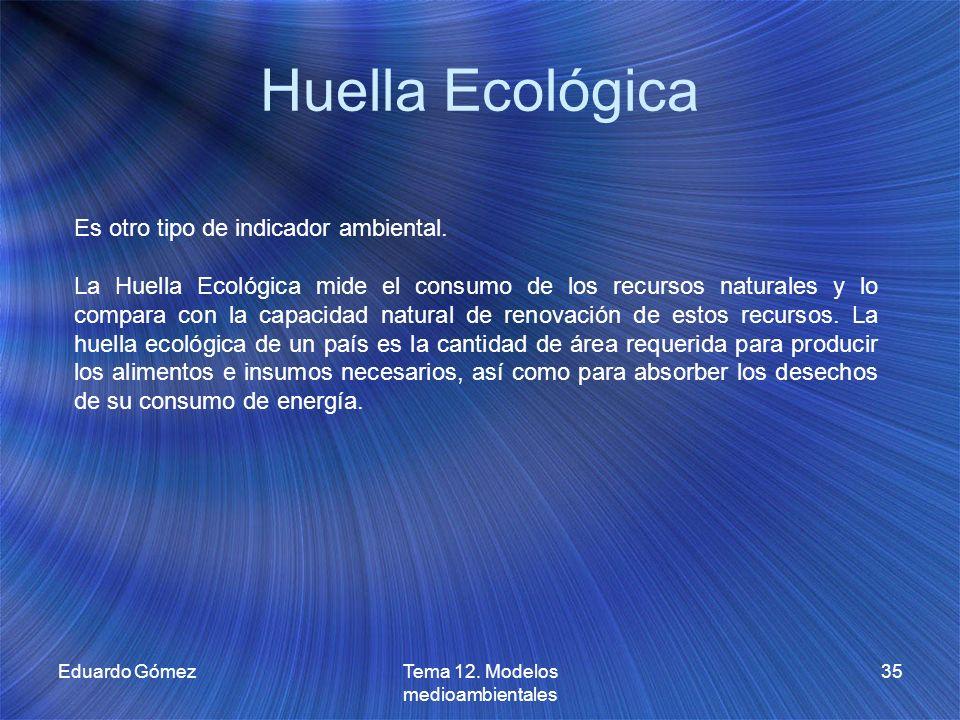 Huella Ecológica Eduardo GómezTema 12. Modelos medioambientales 35 Es otro tipo de indicador ambiental. La Huella Ecológica mide el consumo de los rec