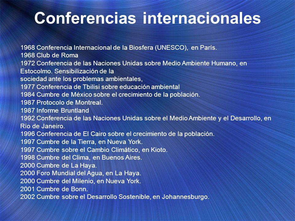 Conferencias internacionales 1968 Conferencia Internacional de la Biosfera (UNESCO), en París. 1968 Club de Roma 1972 Conferencia de las Naciones Unid