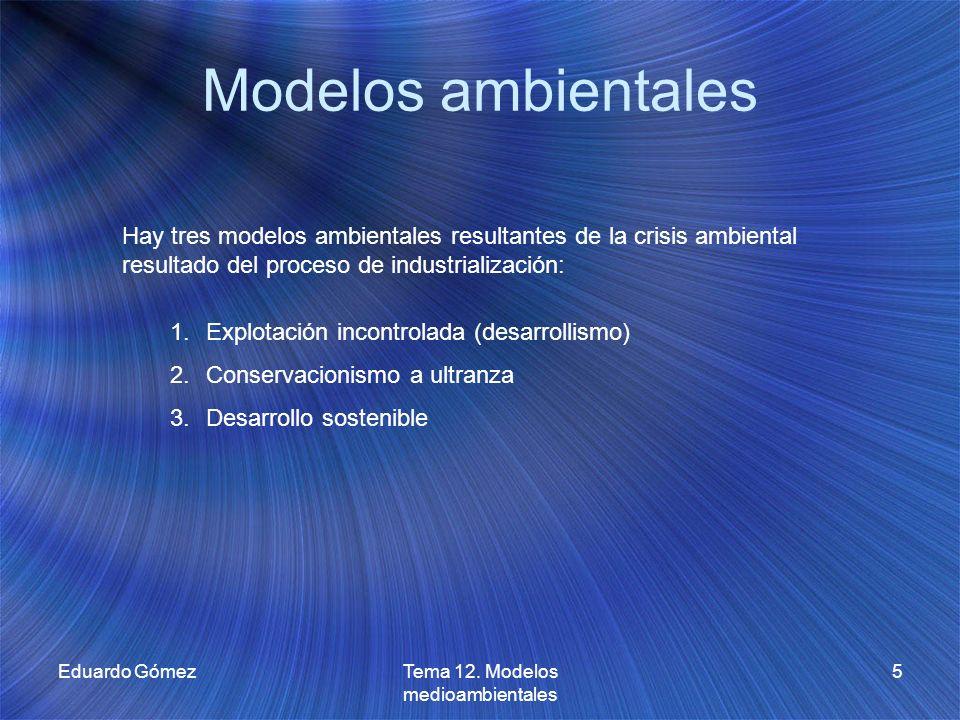 Modelos ambientales Eduardo GómezTema 12. Modelos medioambientales 5 Hay tres modelos ambientales resultantes de la crisis ambiental resultado del pro