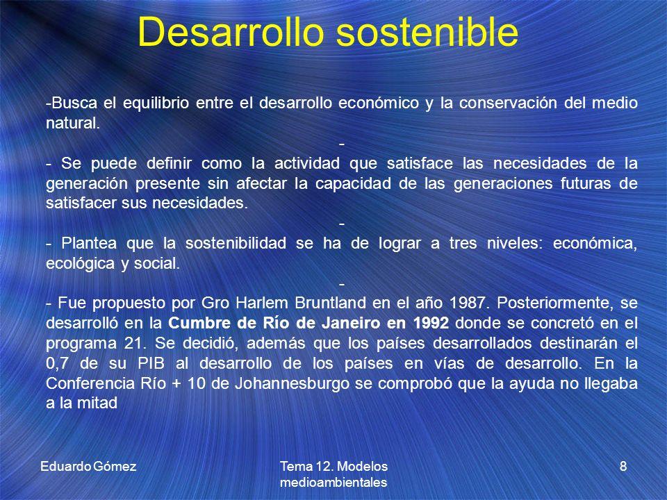 Desarrollo sostenible Eduardo Gómez8Tema 12. Modelos medioambientales -Busca el equilibrio entre el desarrollo económico y la conservación del medio n