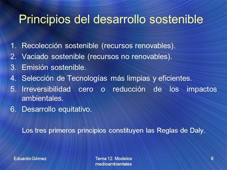 Principios del desarrollo sostenible 1.Recolección sostenible (recursos renovables). 2.Vaciado sostenible (recursos no renovables). 3.Emisión sostenib