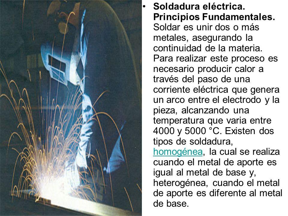 Soldadura eléctrica. Principios Fundamentales. Soldar es unir dos o más metales, asegurando la continuidad de la materia. Para realizar este proceso e