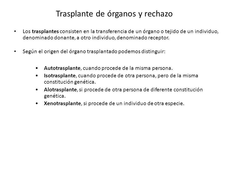Los trasplantes consisten en la transferencia de un órgano o tejido de un individuo, denominado donante, a otro individuo, denominado receptor. Según