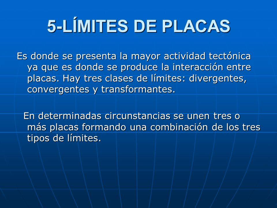 5-LÍMITES DE PLACAS Es donde se presenta la mayor actividad tectónica ya que es donde se produce la interacción entre placas. Hay tres clases de límit