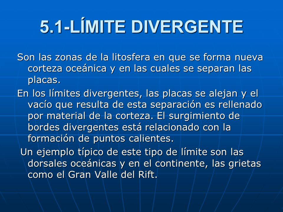 5.1-LÍMITE DIVERGENTE Son las zonas de la litosfera en que se forma nueva corteza oceánica y en las cuales se separan las placas. En los límites diver