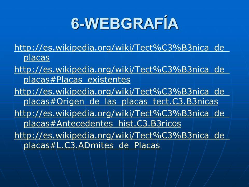 6-WEBGRAFÍA http://es.wikipedia.org/wiki/Tect%C3%B3nica_de_ placas http://es.wikipedia.org/wiki/Tect%C3%B3nica_de_ placas#Placas_existentes http://es.