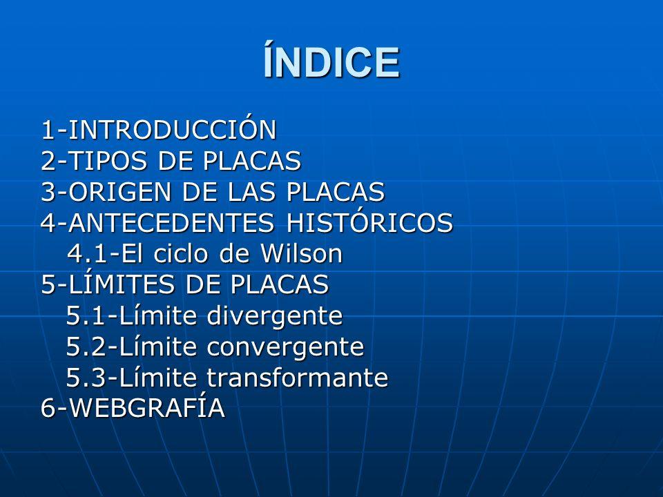ÍNDICE 1-INTRODUCCIÓN 2-TIPOS DE PLACAS 3-ORIGEN DE LAS PLACAS 4-ANTECEDENTES HISTÓRICOS 4.1-El ciclo de Wilson 4.1-El ciclo de Wilson 5-LÍMITES DE PL