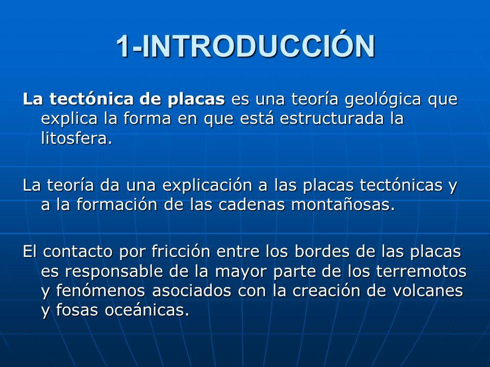 1-INTRODUCCIÓN La tectónica de placas es una teoría geológica que explica la forma en que está estructurada la litosfera. La teoría da una explicación