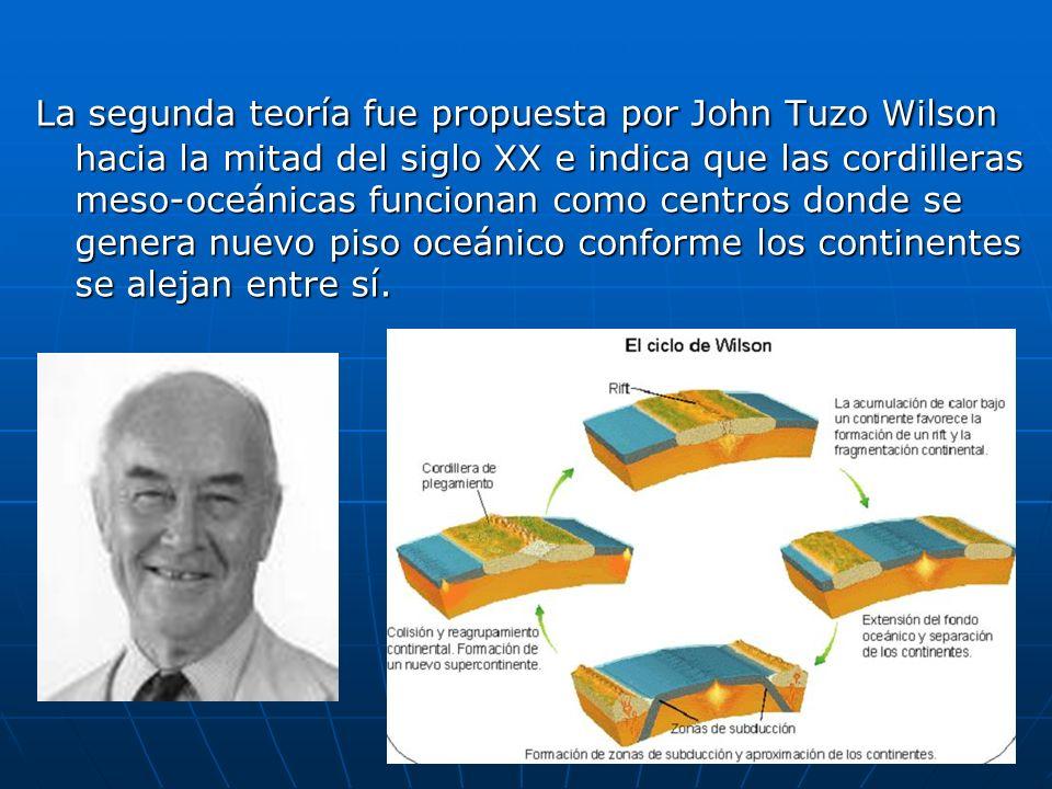 La segunda teoría fue propuesta por John Tuzo Wilson hacia la mitad del siglo XX e indica que las cordilleras meso-oceánicas funcionan como centros do