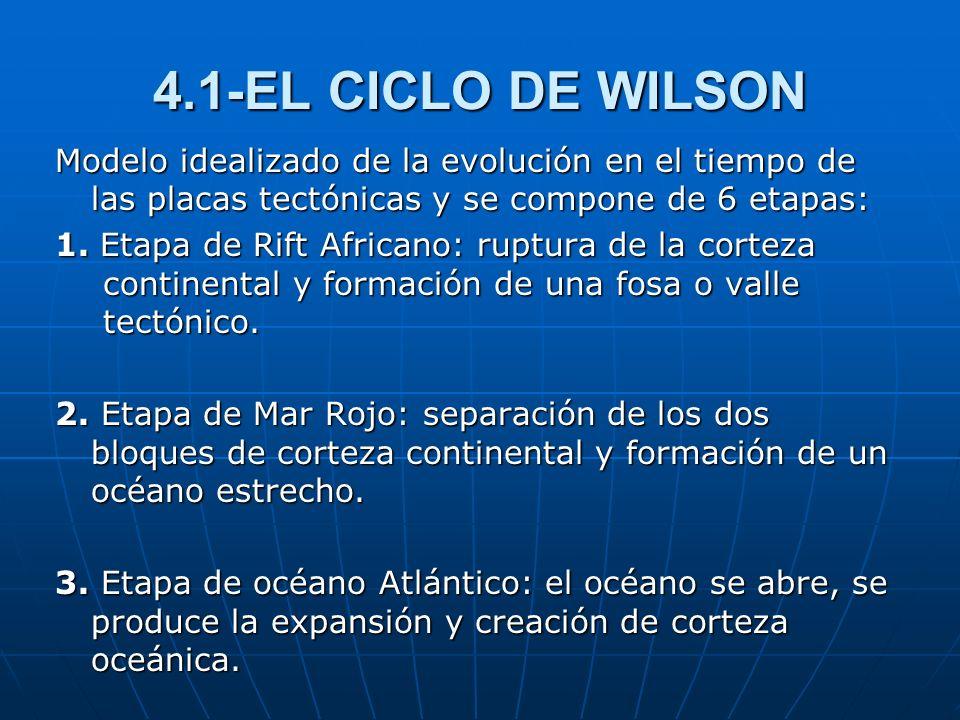 4.1-EL CICLO DE WILSON Modelo idealizado de la evolución en el tiempo de las placas tectónicas y se compone de 6 etapas: 1. Etapa de Rift Africano: ru