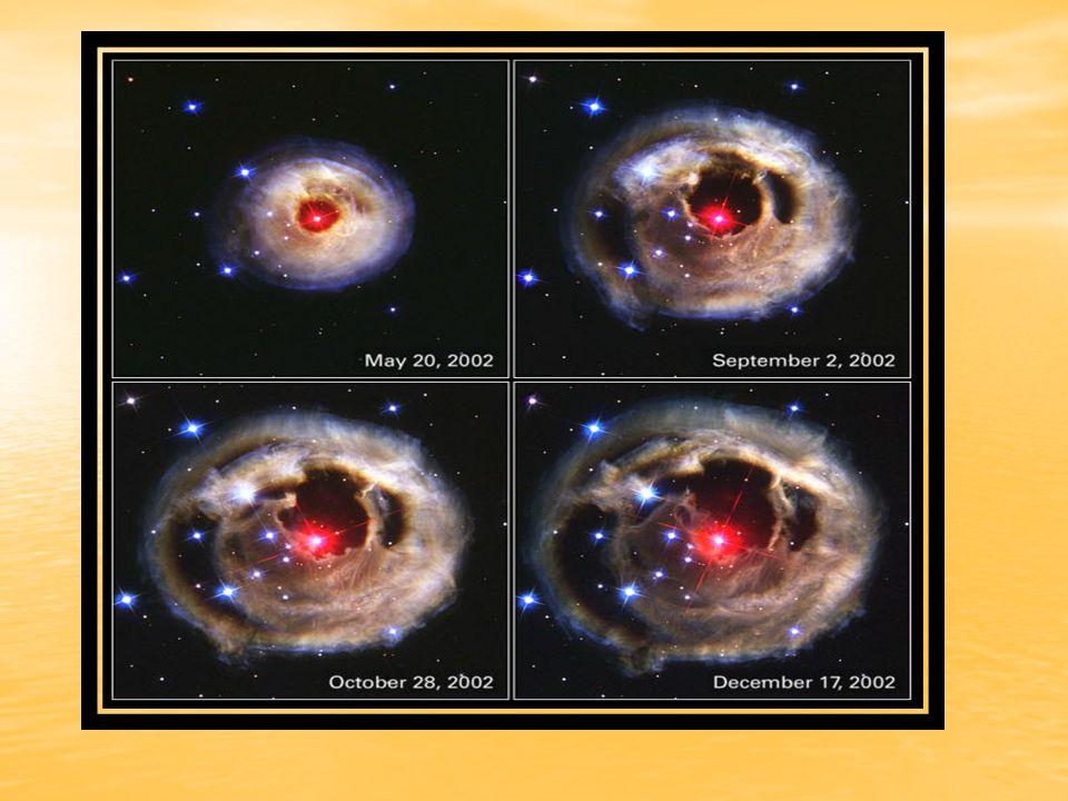 lo que obliga a la estrella a aumentar su luminosidad y volumen a temperatura superficial (o sea, color) prácticamente constantes; la estrella se hincha hasta alcanzar un radio típico de unos 100 millones de km: la estrella se ha convertido así en una gigante roja.