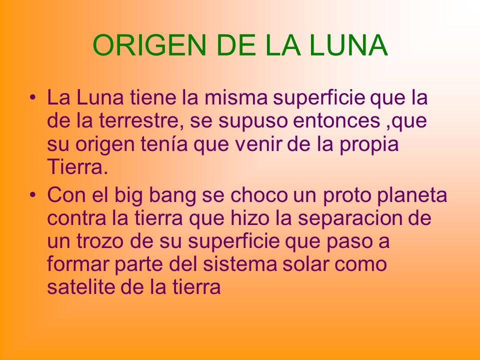 ORIGEN DE LA LUNA La Luna tiene la misma superficie que la de la terrestre, se supuso entonces,que su origen tenía que venir de la propia Tierra. Con