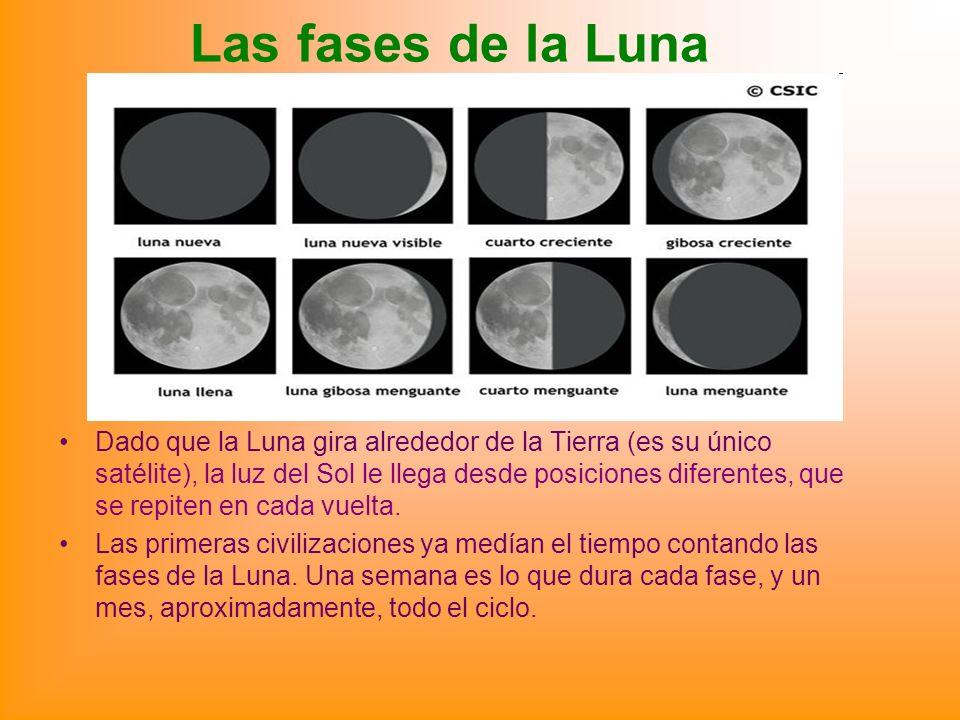 Las fases de la Luna Dado que la Luna gira alrededor de la Tierra (es su único satélite), la luz del Sol le llega desde posiciones diferentes, que se