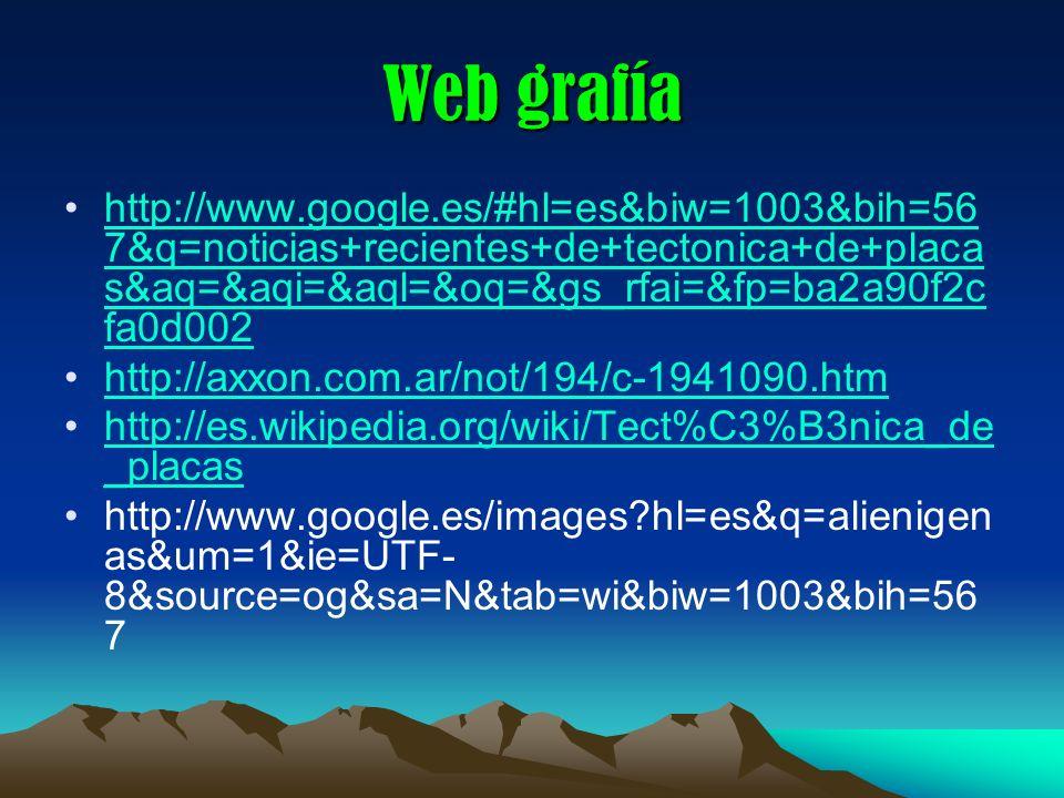 Web grafía http://www.google.es/#hl=es&biw=1003&bih=56 7&q=noticias+recientes+de+tectonica+de+placa s&aq=&aqi=&aql=&oq=&gs_rfai=&fp=ba2a90f2c fa0d002h